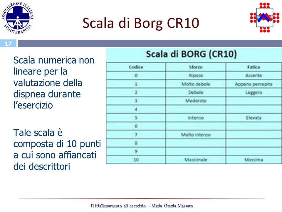 17 Il Riallenamento allesercizio – Maria Grazia Massaro Scala di Borg CR10 Scala numerica non lineare per la valutazione della dispnea durante lesercizio Tale scala è composta di 10 punti a cui sono affiancati dei descrittori