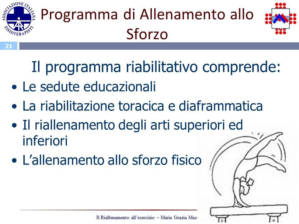 21 Il Riallenamento allesercizio – Maria Grazia Massaro Programma di Allenamento allo Sforzo Il programma riabilitativo comprende: Le sedute educazion