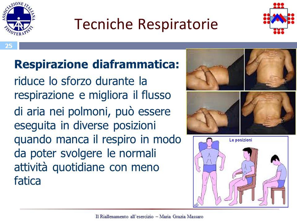 25 Il Riallenamento allesercizio – Maria Grazia Massaro Tecniche Respiratorie Respirazione diaframmatica: riduce lo sforzo durante la respirazione e m