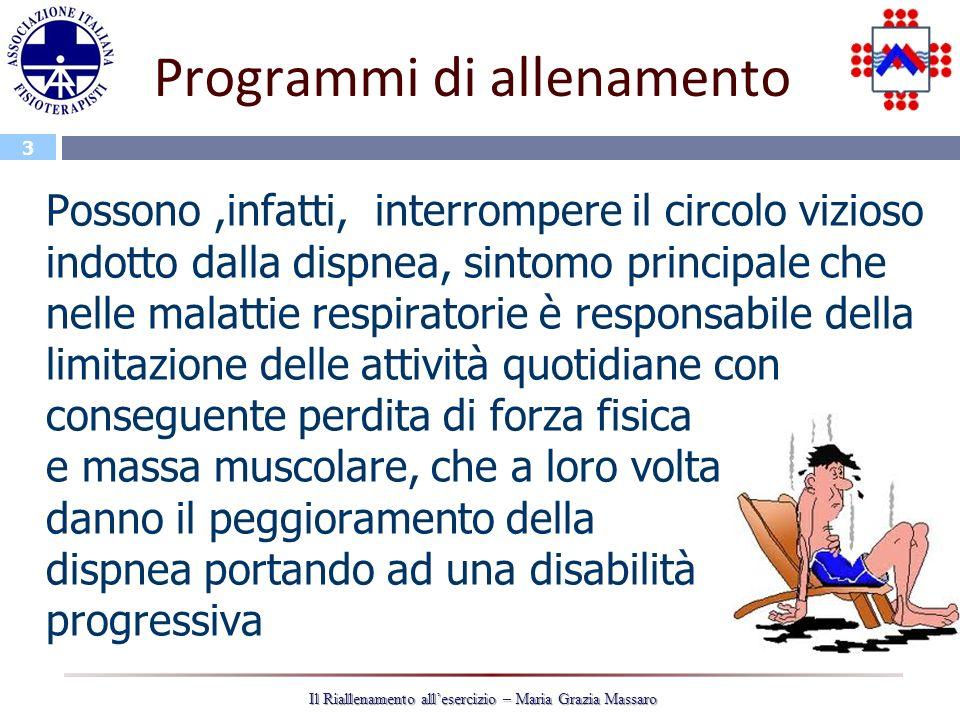 3 Il Riallenamento allesercizio – Maria Grazia Massaro Programmi di allenamento Possono,infatti, interrompere il circolo vizioso indotto dalla dispnea