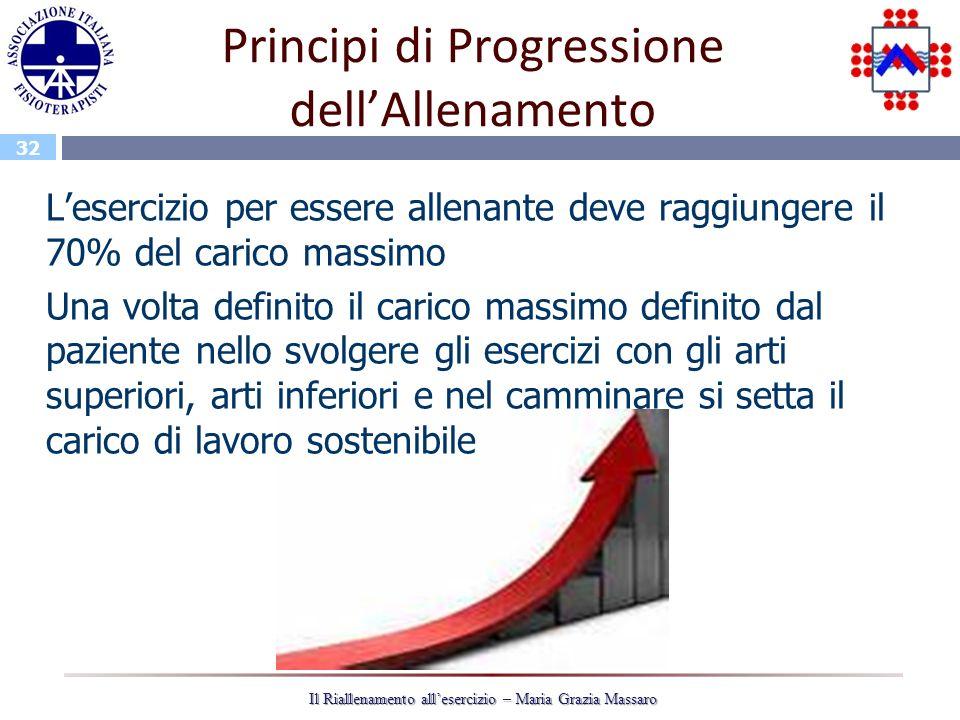 32 Il Riallenamento allesercizio – Maria Grazia Massaro Principi di Progressione dellAllenamento Lesercizio per essere allenante deve raggiungere il 7