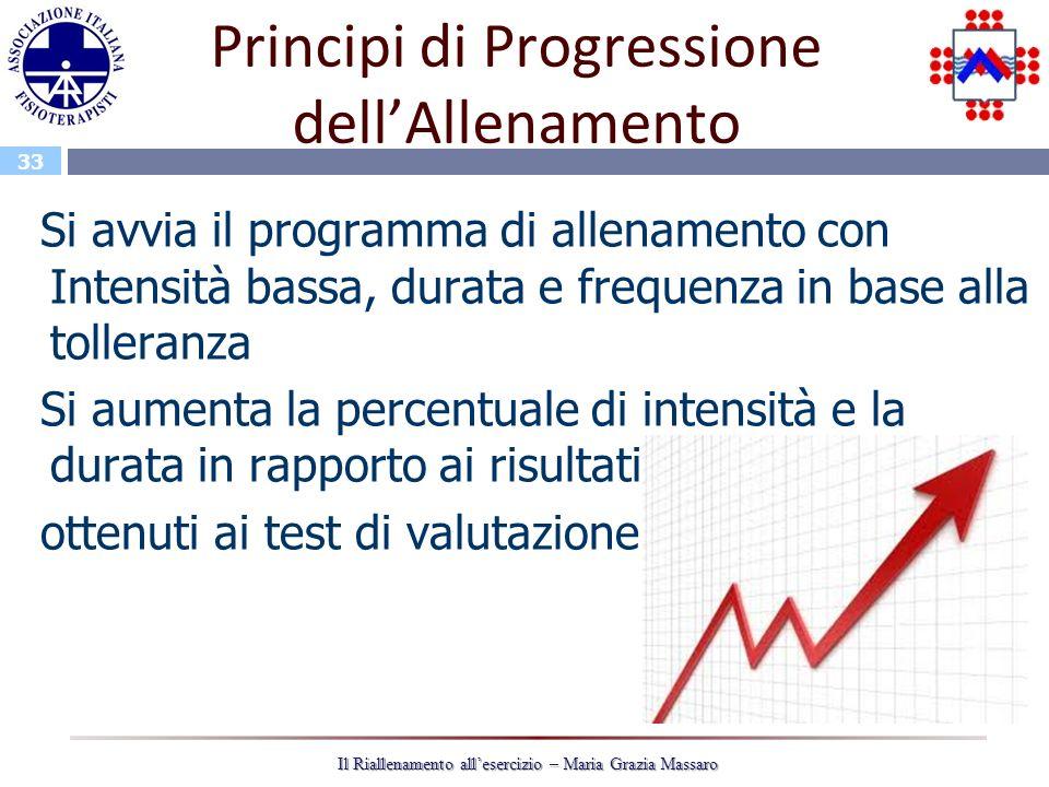 33 Il Riallenamento allesercizio – Maria Grazia Massaro Principi di Progressione dellAllenamento Si avvia il programma di allenamento con Intensità ba