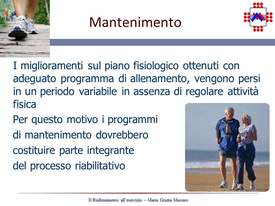 35 Il Riallenamento allesercizio – Maria Grazia Massaro Mantenimento I miglioramenti sul piano fisiologico ottenuti con adeguato programma di allename