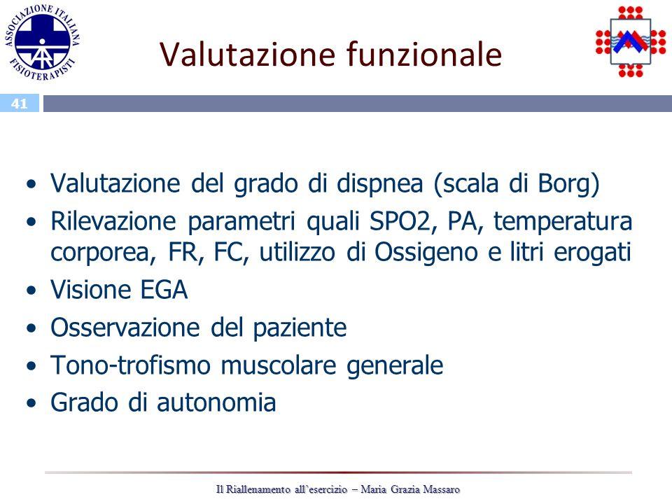 41 Il Riallenamento allesercizio – Maria Grazia Massaro Valutazione funzionale Valutazione del grado di dispnea (scala di Borg) Rilevazione parametri