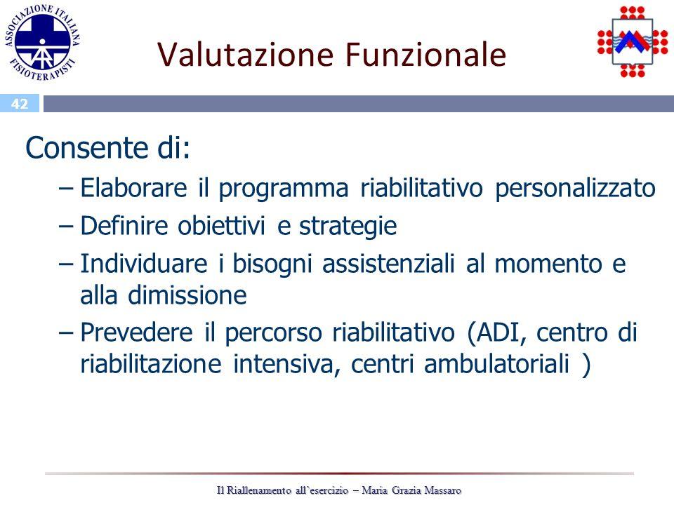 42 Il Riallenamento allesercizio – Maria Grazia Massaro Valutazione Funzionale Consente di: –Elaborare il programma riabilitativo personalizzato –Defi
