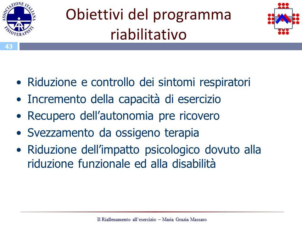 43 Il Riallenamento allesercizio – Maria Grazia Massaro Obiettivi del programma riabilitativo Riduzione e controllo dei sintomi respiratori Incremento