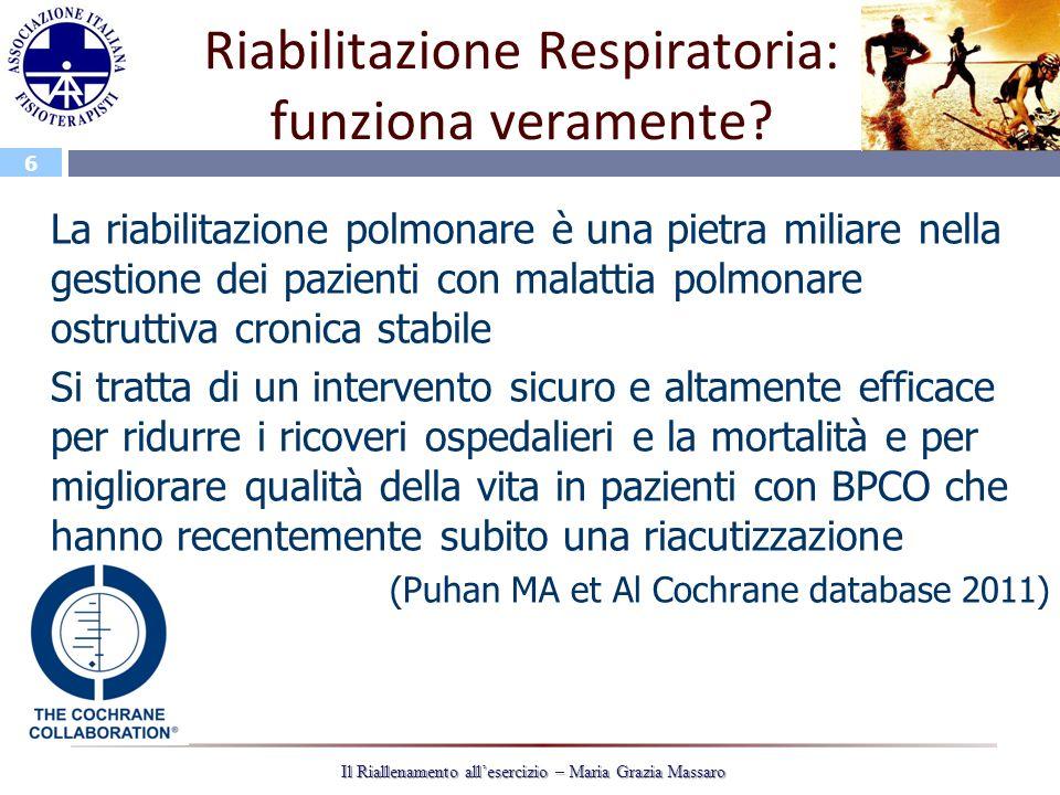 6 Il Riallenamento allesercizio – Maria Grazia Massaro Riabilitazione Respiratoria: funziona veramente? La riabilitazione polmonare è una pietra milia