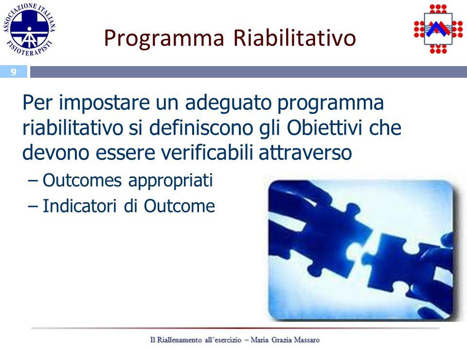 9 Il Riallenamento allesercizio – Maria Grazia Massaro Programma Riabilitativo Per impostare un adeguato programma riabilitativo si definiscono gli Obiettivi che devono essere verificabili attraverso –Outcomes appropriati –Indicatori di Outcome