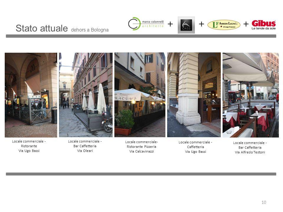 Stato attuale dehors a Bologna Locale commerciale - Ristorante Via Ugo Bassi Locale commerciale - Bar Caffetteria Via Oleari Locale commerciale- Risto