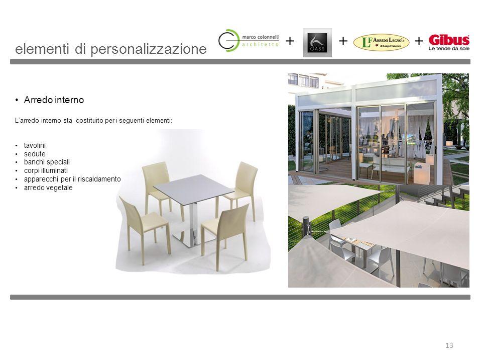 Arredo interno Larredo interno sta costituito per i seguenti elementi: tavolini sedute banchi speciali corpi illuminati apparecchi per il riscaldament