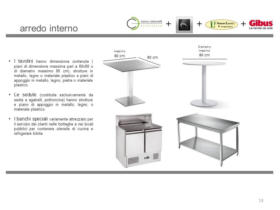 I tavolini hanno dimensione contenute ( piani di dimensione massima pari a 80x80 o di diametro massimo 80 cm), strutture in metallo, legno o materiale