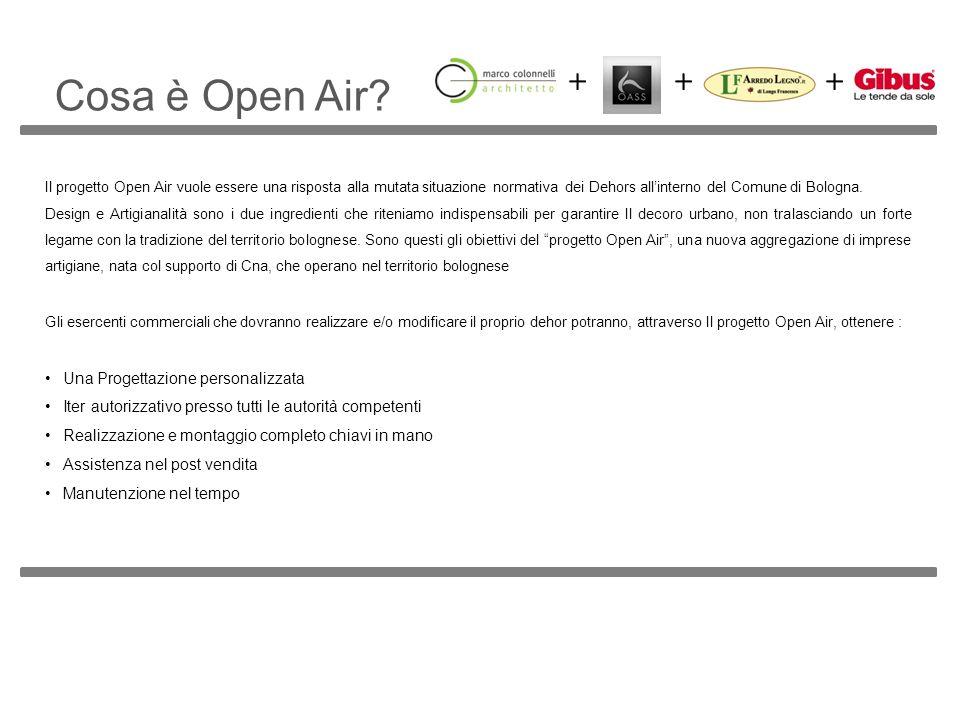 Cosa è Open Air? Il progetto Open Air vuole essere una risposta alla mutata situazione normativa dei Dehors allinterno del Comune di Bologna. Design e