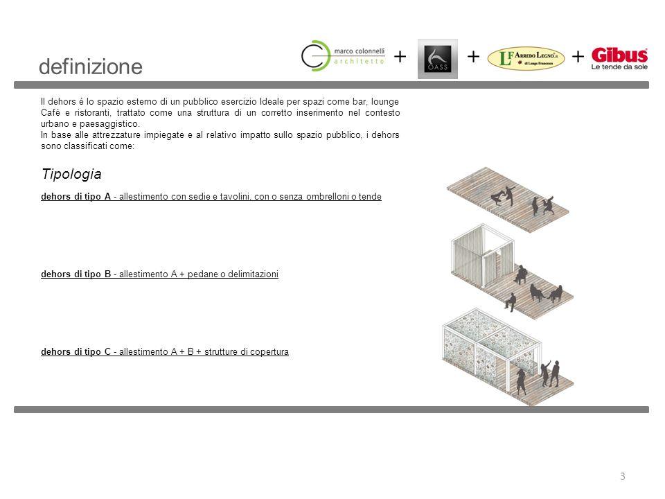 definizione Il dehors è lo spazio esterno di un pubblico esercizio Ideale per spazi come bar, lounge Cafè e ristoranti, trattato come una struttura di