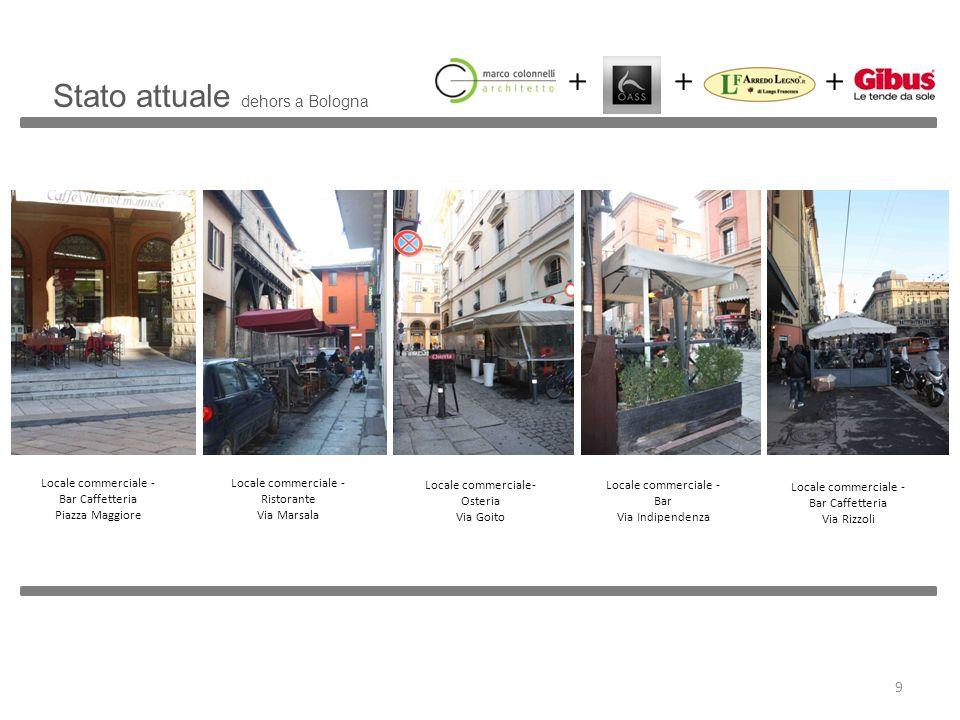 Stato attuale dehors a Bologna Locale commerciale - Bar Caffetteria Piazza Maggiore Locale commerciale - Ristorante Via Marsala Locale commerciale- Os