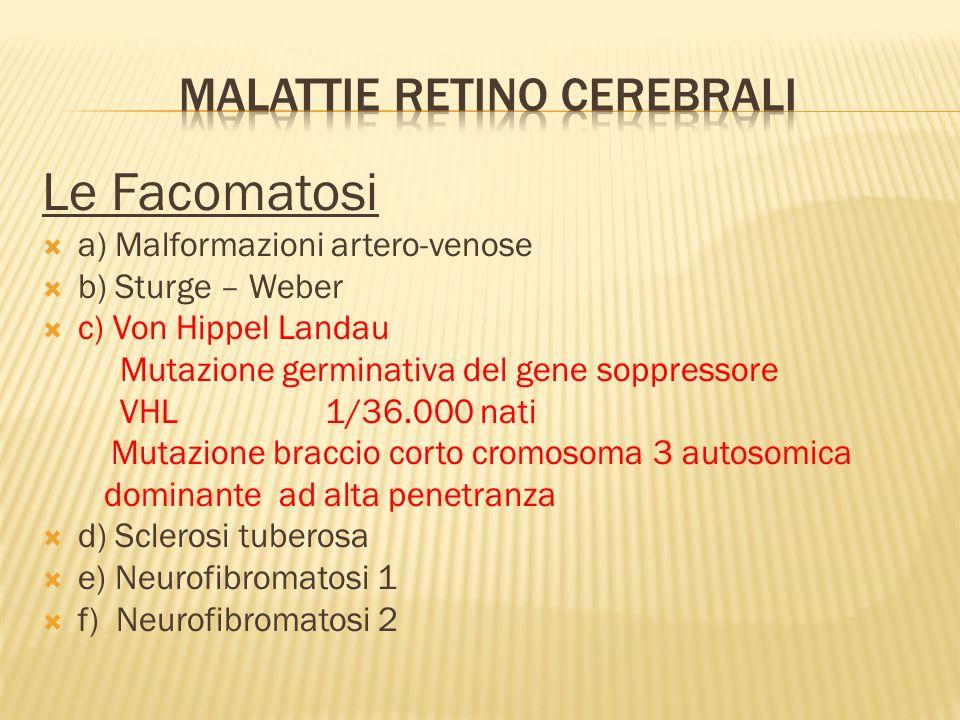 Emangioblastomi sistema nervoso centrale 60-80% dei pazienti Emangioblastomi retinici presenti 60% dei pazienti 50% bilaterali 25 aa età media di presentazione Tipo 1 Tipo 2 A Tipo 2 B Assenti nel tipo 2 C Emangioblastomi del sistema endolinfatico dellorecchio interno 11% dei pazienti Carcinomi renali 25% dei pazienti Feocromocitomi 10-20% dei pazienti