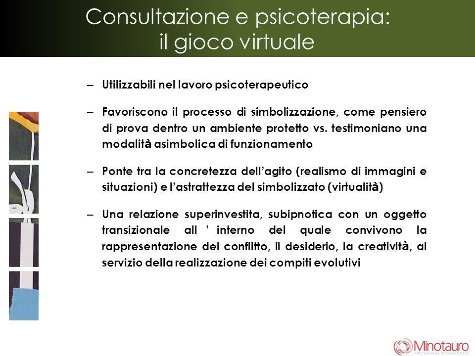 Consultazione e psicoterapia: il gioco virtuale – Utilizzabili nel lavoro psicoterapeutico – Favoriscono il processo di simbolizzazione, come pensiero