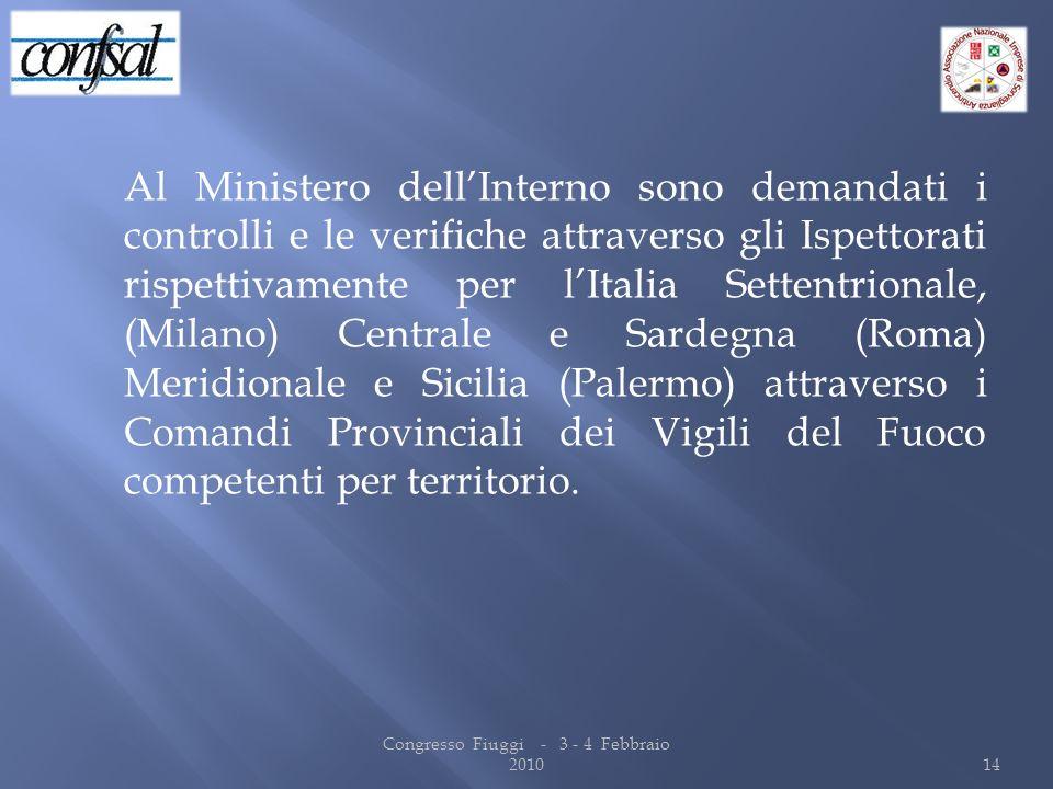 Al Ministero dellInterno sono demandati i controlli e le verifiche attraverso gli Ispettorati rispettivamente per lItalia Settentrionale, (Milano) Cen