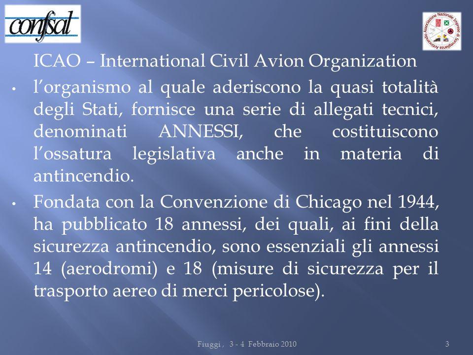 ICAO – International Civil Avion Organization lorganismo al quale aderiscono la quasi totalità degli Stati, fornisce una serie di allegati tecnici, de
