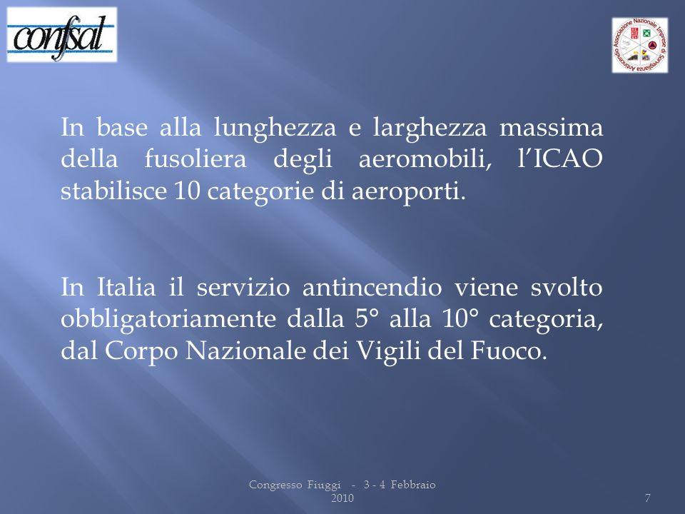 In base alla lunghezza e larghezza massima della fusoliera degli aeromobili, lICAO stabilisce 10 categorie di aeroporti. In Italia il servizio antince