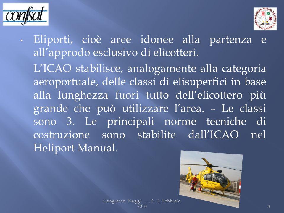 Eliporti, cioè aree idonee alla partenza e allapprodo esclusivo di elicotteri. LICAO stabilisce, analogamente alla categoria aeroportuale, delle class
