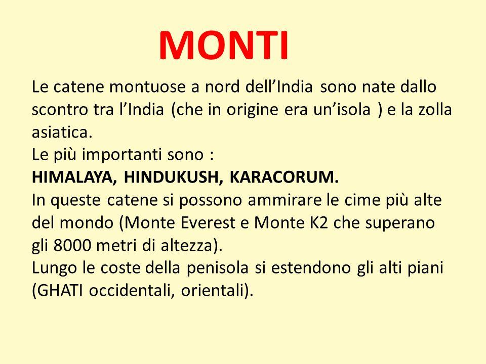 MONTI Le catene montuose a nord dellIndia sono nate dallo scontro tra lIndia (che in origine era unisola ) e la zolla asiatica. Le più importanti sono