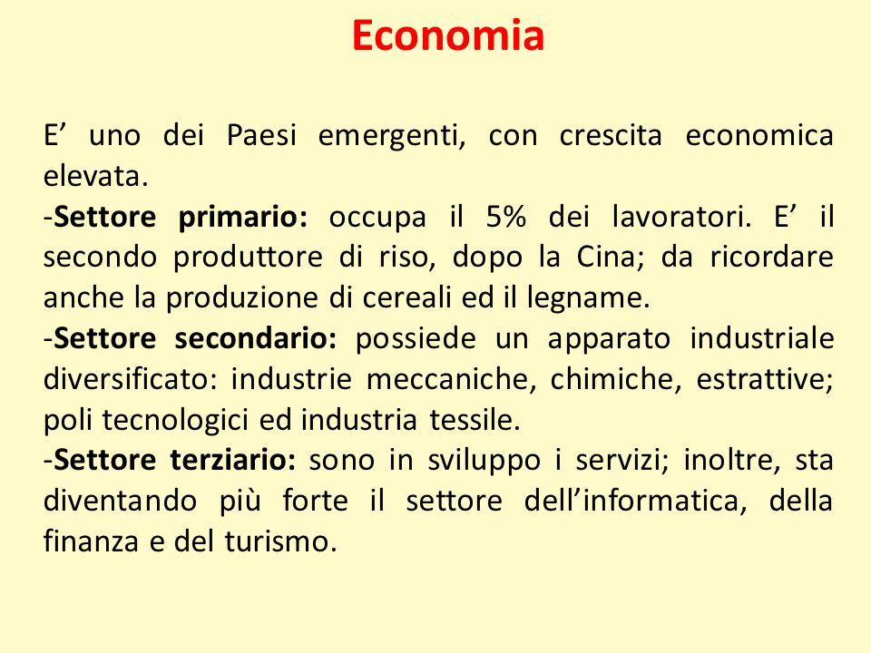 Economia E uno dei Paesi emergenti, con crescita economica elevata. -Settore primario: occupa il 5% dei lavoratori. E il secondo produttore di riso, d