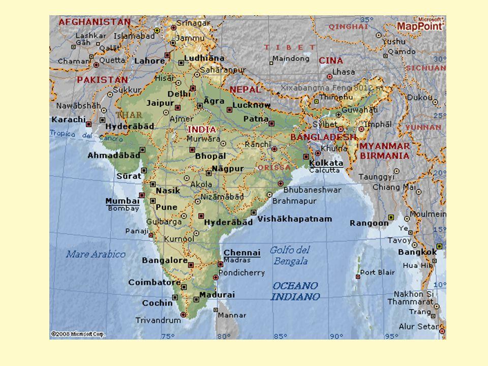 CONFINI - A nord con la Cina, il Nepal e il Pakistan; - a est con il Bangladesh e con il golfo del Bengala, (Oceano Indiano) - a ovest con il mare Arabico; - a sud con lo Sri Lanka e con lOceano Indiano.
