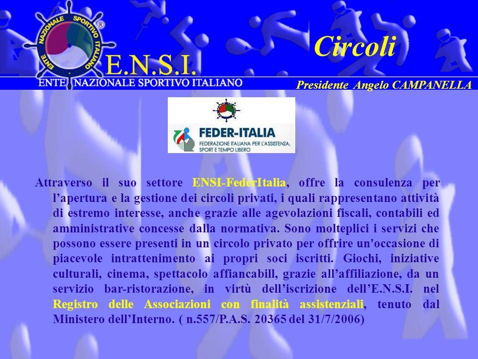 Attraverso il suo settore ENSI-FederItalia, offre la consulenza per lapertura e la gestione dei circoli privati, i quali rappresentano attività di est