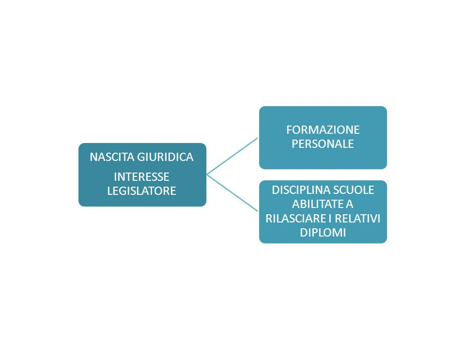 NASCITA GIURIDICA INTERESSE LEGISLATORE FORMAZIONE PERSONALE DISCIPLINA SCUOLE ABILITATE A RILASCIARE I RELATIVI DIPLOMI