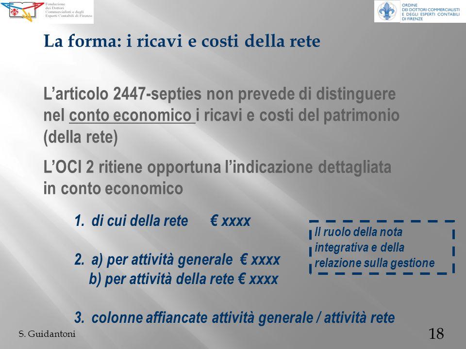 18 S. Guidantoni Larticolo 2447-septies non prevede di distinguere nel conto economico i ricavi e costi del patrimonio (della rete) La forma: i ricavi