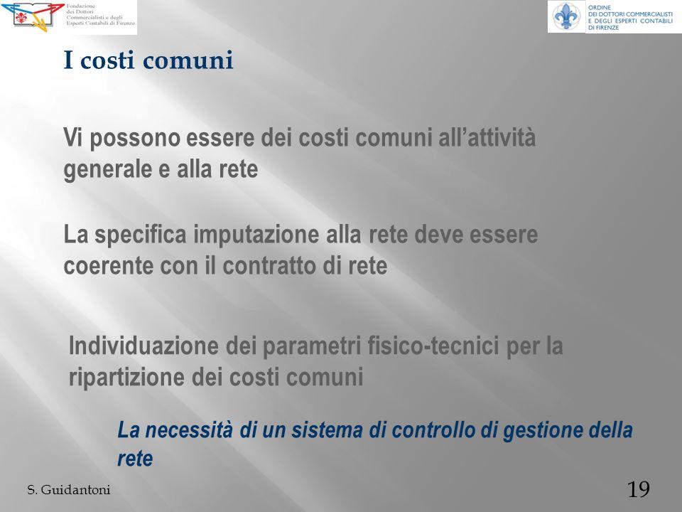 19 S. Guidantoni Vi possono essere dei costi comuni allattività generale e alla rete I costi comuni La specifica imputazione alla rete deve essere coe