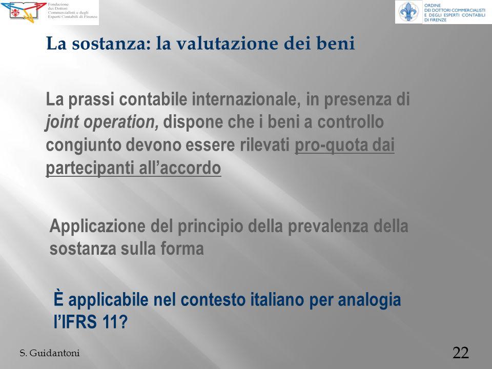 22 S. Guidantoni La prassi contabile internazionale, in presenza di joint operation, dispone che i beni a controllo congiunto devono essere rilevati p