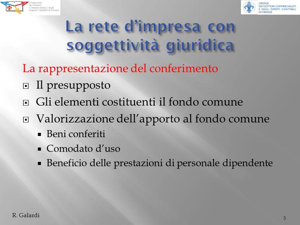 La rappresentazione del conferimento Il presupposto Gli elementi costituenti il fondo comune Valorizzazione dellapporto al fondo comune Beni conferiti Comodato duso Beneficio delle prestazioni di personale dipendente 5 R.