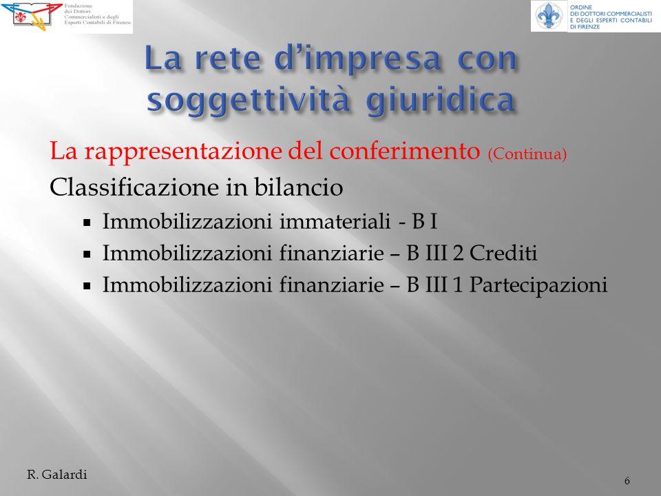 La rappresentazione del conferimento (Continua) Classificazione in bilancio Immobilizzazioni immateriali - B I Immobilizzazioni finanziarie – B III 2 Crediti Immobilizzazioni finanziarie – B III 1 Partecipazioni 6 R.