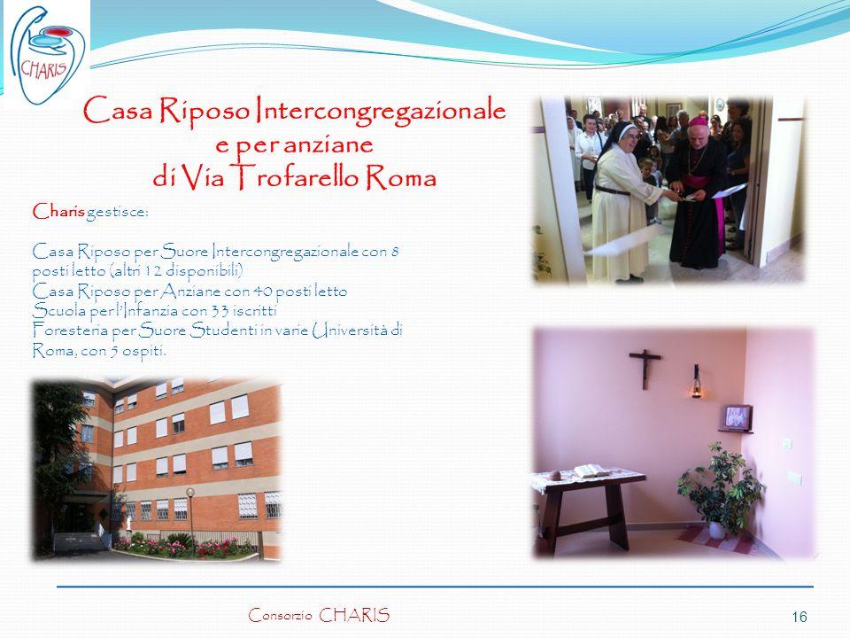 Consorzio CHARIS16 Charis gestisce: Casa Riposo per Suore Intercongregazionale con 8 posti letto (altri 12 disponibili) Casa Riposo per Anziane con 40