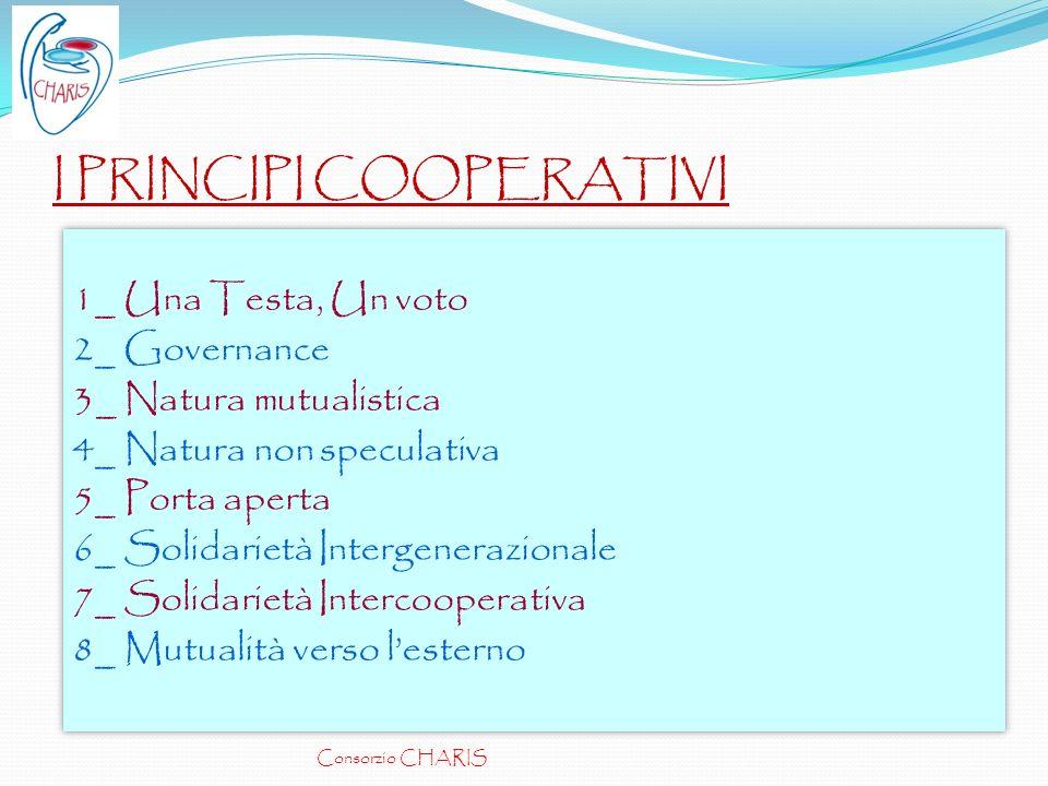 I PRINCIPI COOPERATIVI 1_ Una Testa, Un voto 2_ Governance 3_ Natura mutualistica 4_ Natura non speculativa 5_ Porta aperta 6_ Solidarietà Intergenera