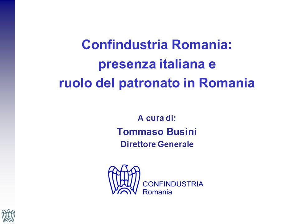 Presenza italiana in Romania Gli investimenti italiani hanno fornito un notevole contributo alla crescita economica della Romania, grazie alloperato delle piccole e medie imprese nel Paese dagli anni 90, alle quali si sono aggiunti anche gli investimenti diretti esteri di grandi gruppi industriali; Secondo i dati dellIstituto Nazionale di Statistica (INS), linterscambio commerciale tra Italia e Romania ha raggiunto nel 2011 un valore complessivo di 12 miliardi di Euro, in aumento del 13,3% rispetto al 2010; LItalia continua ad essere, da oltre 10 anni, il principale paese investitore per numero aziende registrate, e quella italiana in Romania è ad oggi la comunità business con il maggior numero di imprese italiane oltre confine al mondo; Gli imprenditori italiani hanno iniziato a costituire joint ventures o stipulare contratti con produttori locali, fino a investimenti diretti di alcuni grandi gruppi italiani per la produzione di beni e lo sviluppo delle infrastrutture.