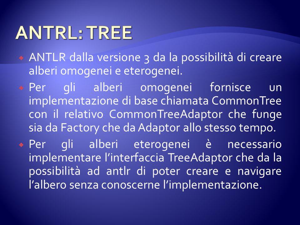 ANTLR dalla versione 3 da la possibilità di creare alberi omogenei e eterogenei.