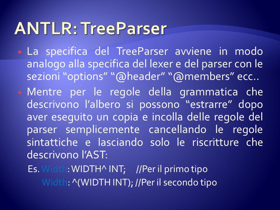 La specifica del TreeParser avviene in modo analogo alla specifica del lexer e del parser con le sezioni options @header @members ecc..