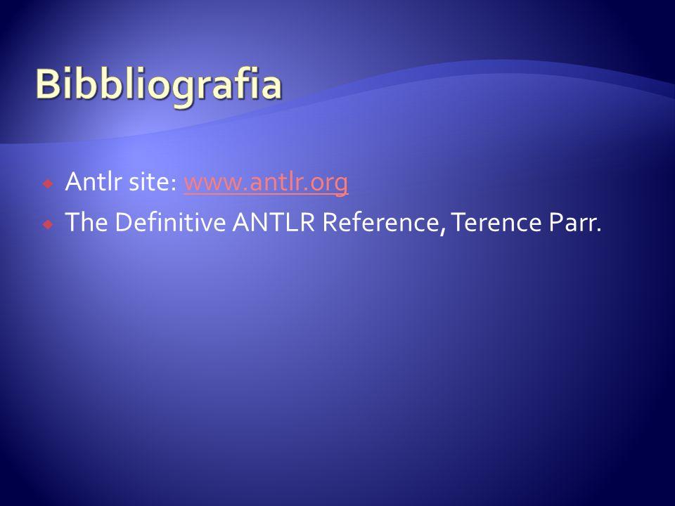 Antlr site: www.antlr.orgwww.antlr.org The Definitive ANTLR Reference, Terence Parr.