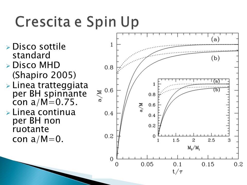 Disco sottile standard Disco MHD (Shapiro 2005) Linea tratteggiata per BH spinnante con a/M=0.75. Linea continua per BH non ruotante con a/M=0.