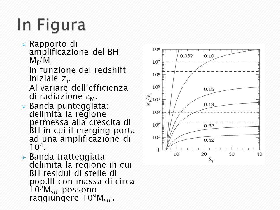 Rapporto di amplificazione del BH: M f /M i in funzione del redshift iniziale z i. Al variare dellefficienza di radiazione M. Banda punteggiata: delim