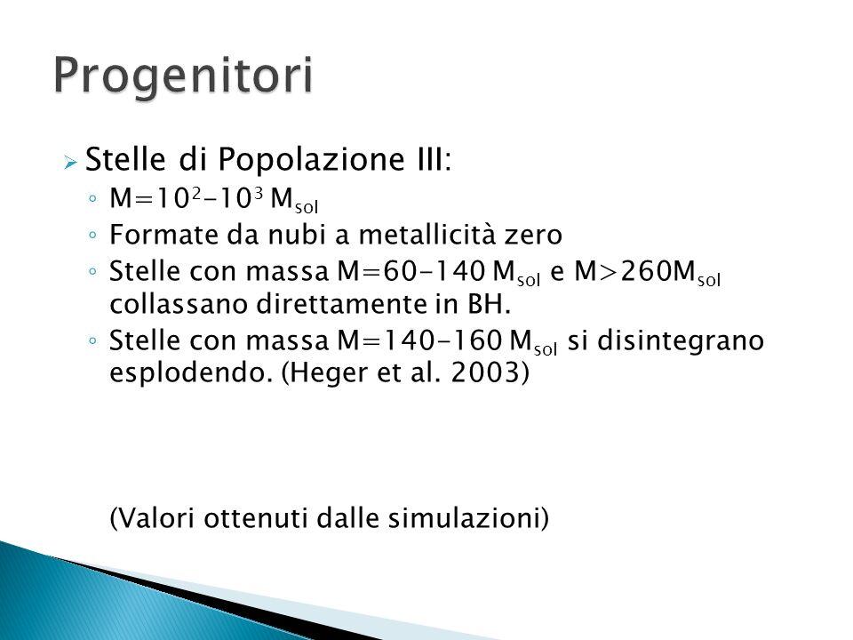 Stelle di Popolazione III: M=10 2 -10 3 M sol Formate da nubi a metallicità zero Stelle con massa M=60-140 M sol e M>260M sol collassano direttamente