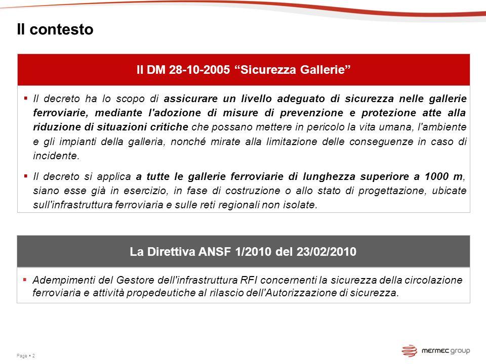 Il contesto Il DM 28-10-2005 Sicurezza Gallerie Il decreto ha lo scopo di assicurare un livello adeguato di sicurezza nelle gallerie ferroviarie, medi