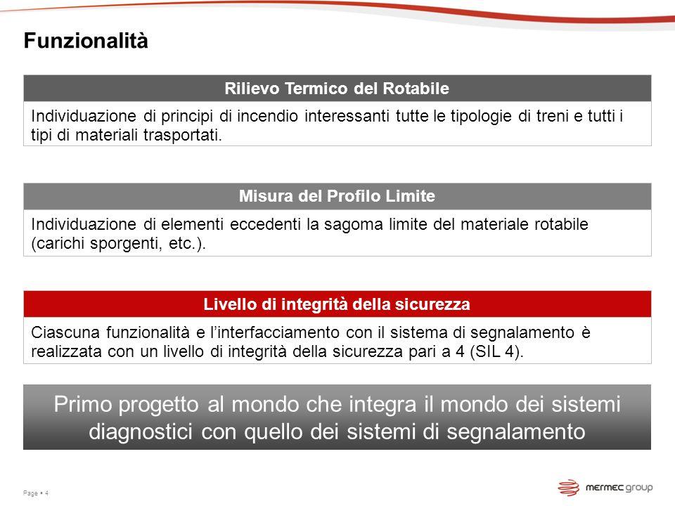 Funzionalità Page 4 Livello di integrità della sicurezza Ciascuna funzionalità e linterfacciamento con il sistema di segnalamento è realizzata con un