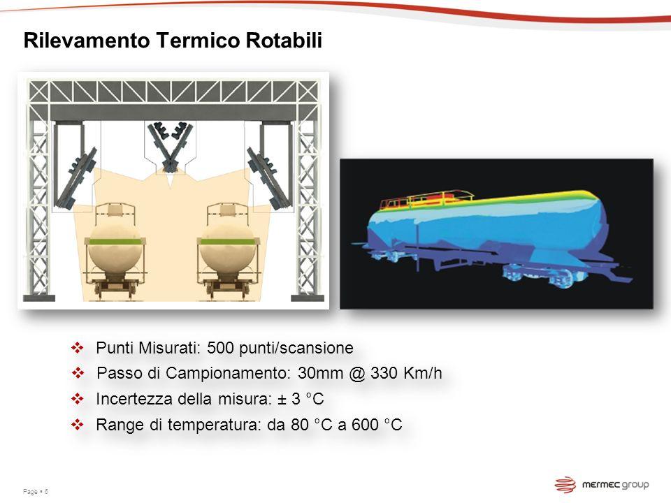 Page 6 Rilevamento Termico Rotabili Punti Misurati: 500 punti/scansione Passo di Campionamento: 30mm @ 330 Km/h Incertezza della misura: ± 3 °C Range