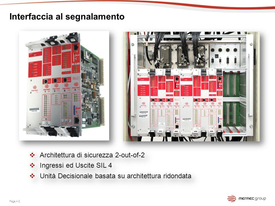 Page 8 Interfaccia al segnalamento Architettura di sicurezza 2-out-of-2 Ingressi ed Uscite SIL 4 Unità Decisionale basata su architettura ridondata