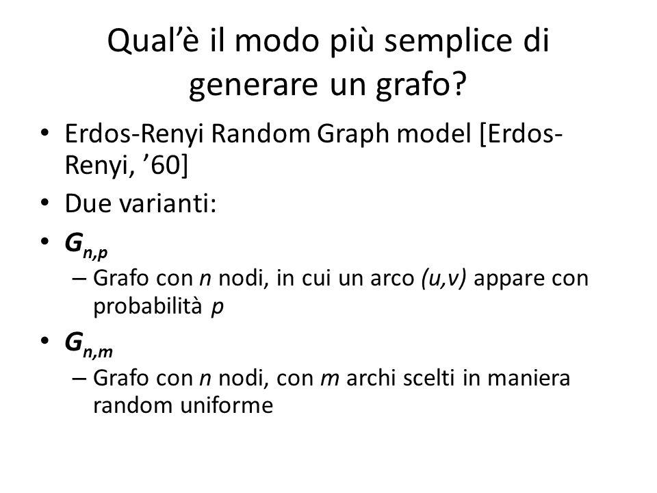 Qualè il modo più semplice di generare un grafo? Erdos-Renyi Random Graph model [Erdos- Renyi, 60] Due varianti: G n,p – Grafo con n nodi, in cui un a