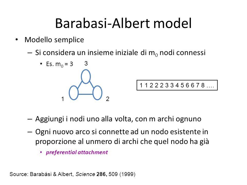 Barabasi-Albert model Modello semplice – Si considera un insieme iniziale di m 0 nodi connessi Es. m 0 = 3 – Aggiungi i nodi uno alla volta, con m arc
