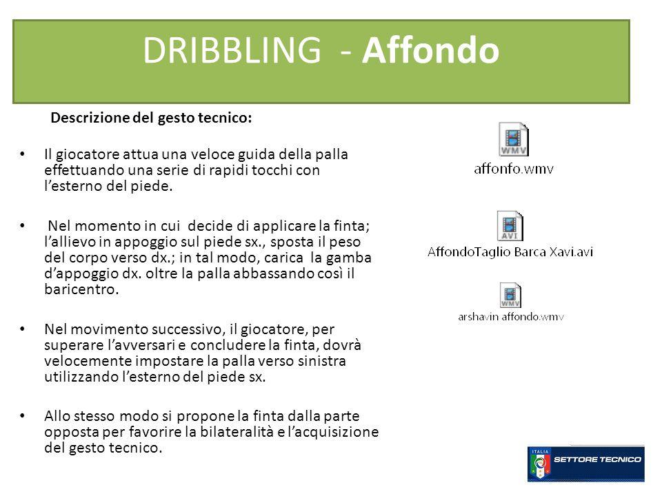 DRIBBLING - Affondo Descrizione del gesto tecnico: Il giocatore attua una veloce guida della palla effettuando una serie di rapidi tocchi con lesterno